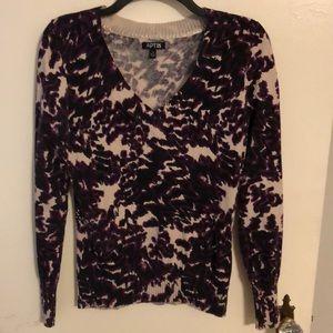 Apt. 9 Purple & Cream V-Neck Sweater